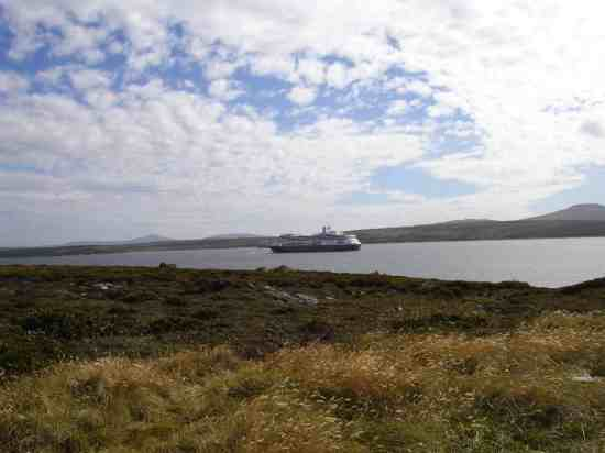 Anchored at Stanley, Falkland Islands.