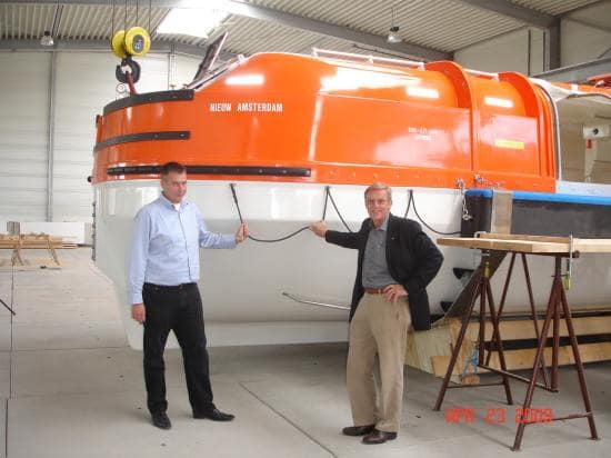Chief Officer Jacco Terstall (left) and Pieter Rijkaart at the boat manufacturing plant in Germany.