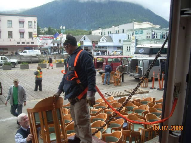 150 lido chairs are unloaded in Ketchikan