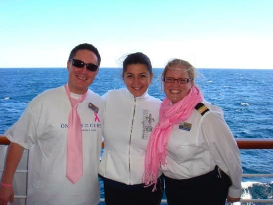 From left: Cruise Director Mike, Crew Purser Kateryna and Event Manager Deborah.