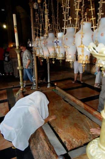 The stone slab where Jesus' body was prepared for burial.