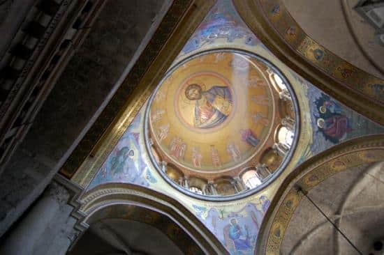 The dome over the chapel at the Church of the Holy Sepulcher.