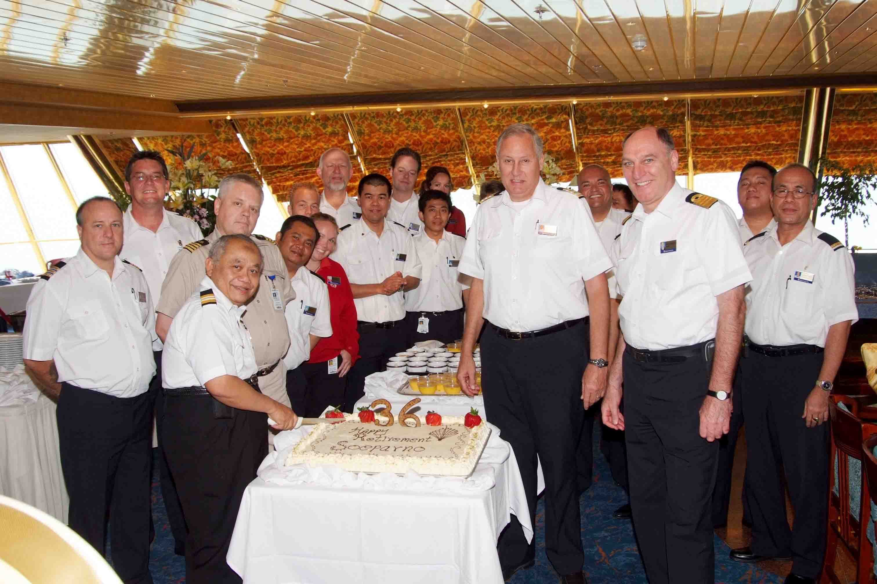 Chief Housekeeper Pak Soeparno and the officers of the Volendam.