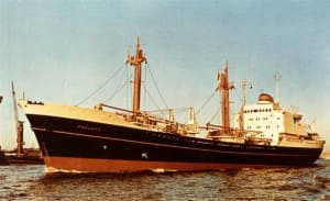 The ms Poeldijk. A smaller vessel in the HAL Fleet but beloved by everybody for its congenial atmosphere on board.