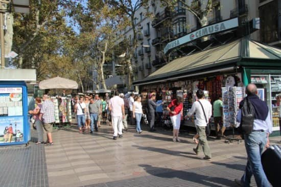 The Ramblas was busy as usual.
