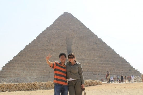 At the pyramids of Egypt.