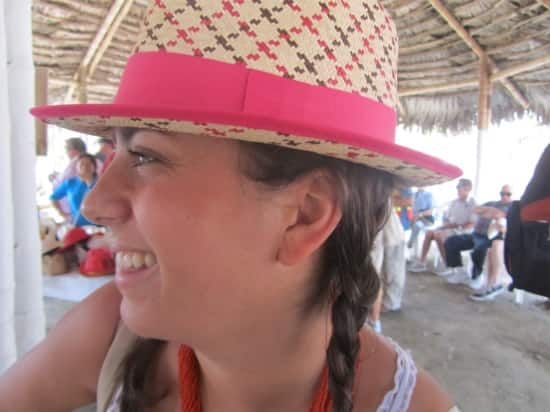 Pink and tan hat