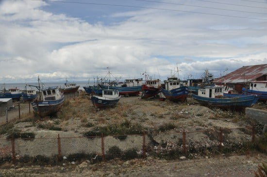 The fishing season is over so all boats are stored at the beach.