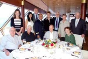 HAL representatives including Vice President, Public Relations Sally Andrews; President and CEO Stein Kruse and Linda Kruse; Chief Housekeeper Shiv Charan; and Mariner Society Director Gerald Bernhoft – with Mariners at one of the luncheons.