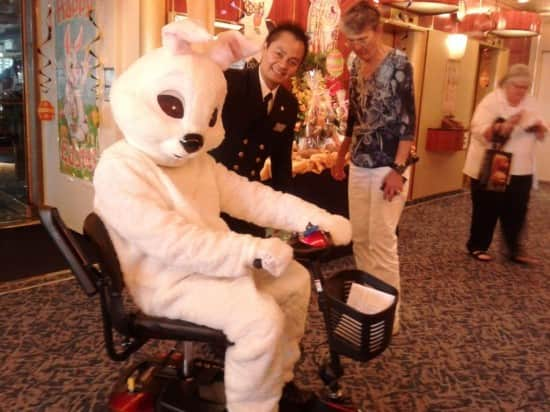 The Easter bunny enjoying a scooter ride.