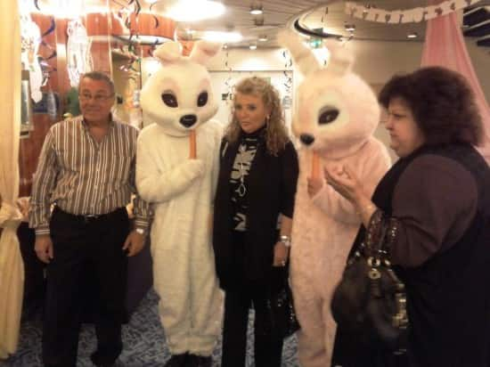 Guests posing with the Easter Bunny.