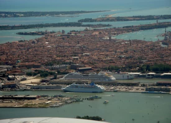 View from the plane of Venice and the cruise ships at port.