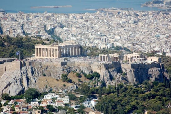 View of the Akropolis from Lykavittos Hill.