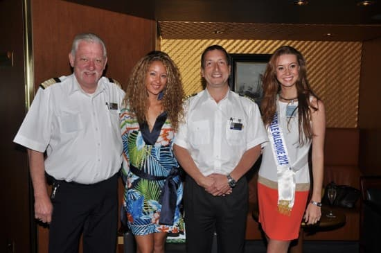 From left to right: Hotel Director Robert Versteeg, Miss France 2000, Captain van der Loo, and Miss New Caledonia 2012.