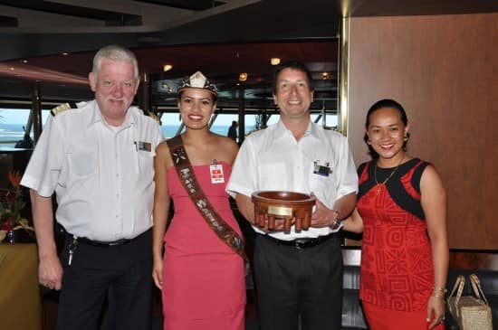 From left: Hotel Director Robert Versteeg, Recently Crowned Miss Samoa Janine Tuivaiti, Captain Arjen van der Loo and Miss Tracy Warren from  the Samoa Tourism Authority.