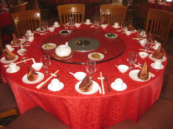 Chinese round table lunch at the Bamboo Grove Hotel