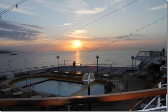 Monaco sunrise seen from the aft deck.