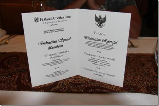 Indonesian Special Luncheon menu.