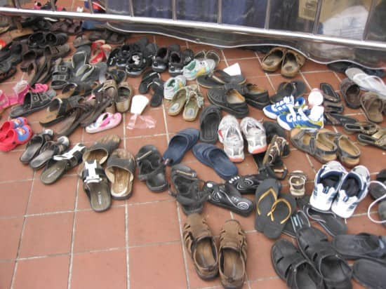 Shoes at the Sri Mariamman Temple in Singapore.
