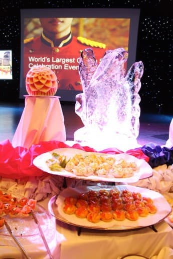 Ice sculpture and food.