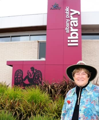 at the Albany Public Library. Notice the poppy I am wearing for Remembrance Day.