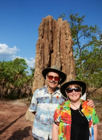 Me and Al in front of 12-foot Cathedral Termite Mound.