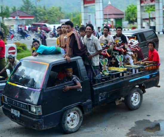 Van full of Balinese (Hindu) from Lombok probably going to one of the many festivals that they celebrate.