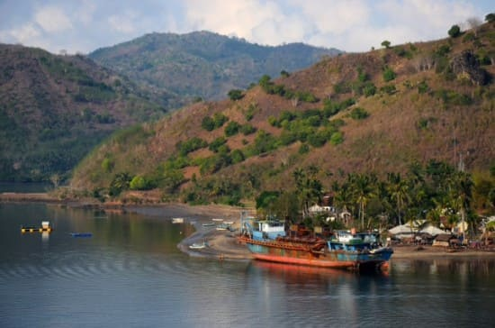 View from the ship off Lombok as we approached the area where we would anchor off the port of Lembar.