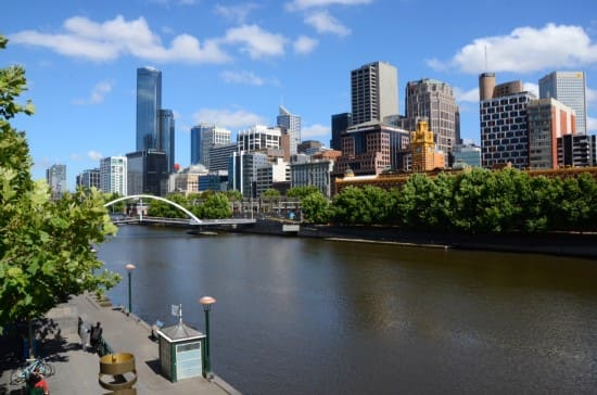 View of Melbourne from the south bank of the Yarra River