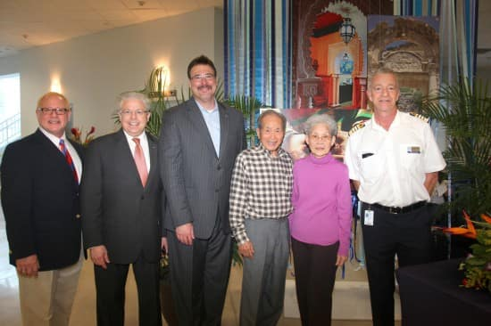 From left: Cruise Director Bruce Scudder, me, Executive Vice President of Marketing, Sales and Guest Programs Rick Meadows, Edward and Leiling Leung and Captain Mercer.