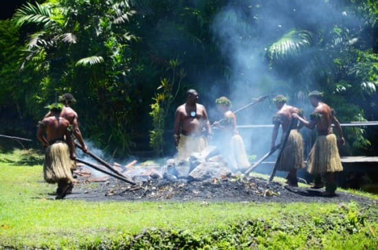After removing the logs, the fire walkers spread the stones and placed them so that they could walk on them. The stones are from a river. The fire walkers are from the Fijian Island of Beqa. The Sawau people are the only Fijians who were given the secret of how to walk on hot stones.
