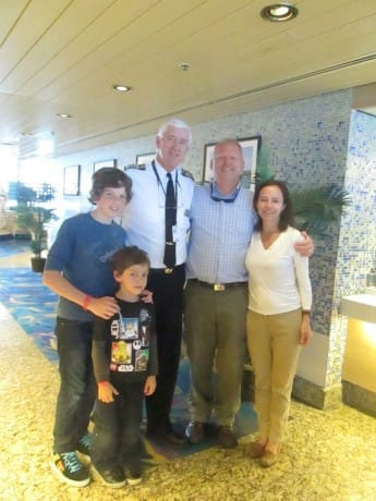 Captain Peter Bos is pictured here with the Korch family.