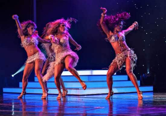 Sabrina Bryan (center) and the dance troupe in the finale of Dancing with the Stars: At Sea.