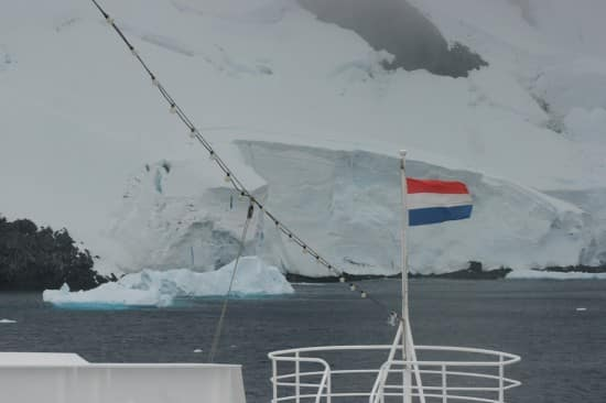 The bow of the Prinsendam in Antarctica.