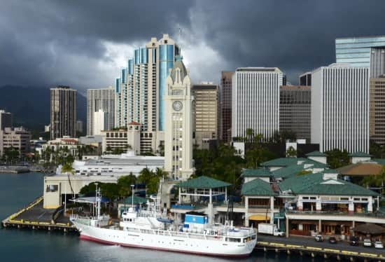 Honolulu cruise terminal and the Aloha Tower.