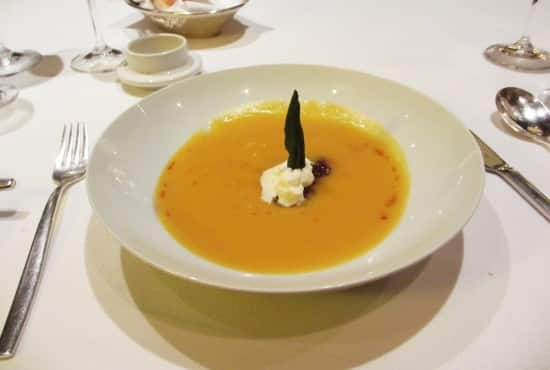 Butternut Squash Soup with Huckleberries. The Huckleberries was a interesting combination with the squash.