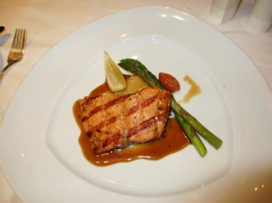 Grilled Alaska Salmon with Sesame Soy Kalbi served with Garlic Mashed Potatoes and Asparagus.