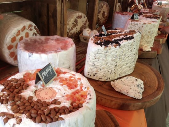 Yummy fresh nougat as sold in the market adjacent to the Noordam in Corsica.