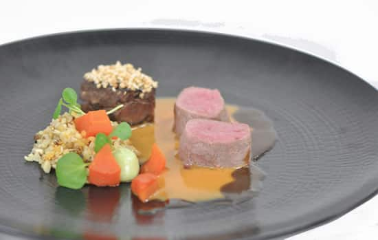 Duo of lamb loin and crusted lamb neck.