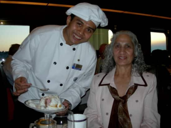 Mother in-law Suzi with waiter