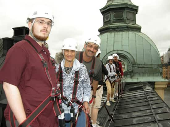 Son Cameron with mother in-law Suzi and husband Mory on the rooftop tour in Stockholm July 2010- Baltic cruise