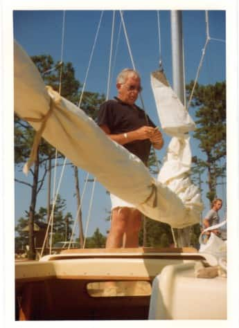 My dad, W.D. Page, on his boat Geisha at the dock in Oriental.