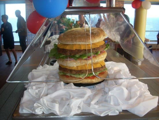 The enormous cheeseburger created by Veendam's Culinary team