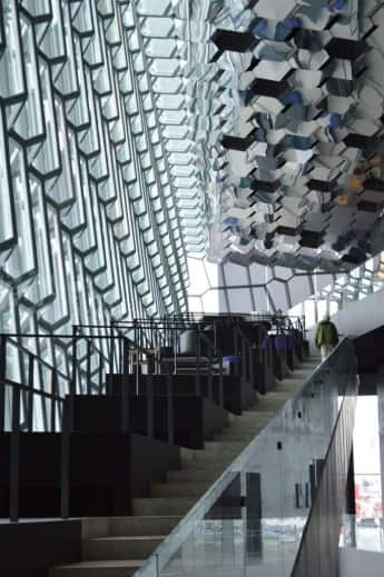 Harpa's stairway – seating alcoves are on the left.