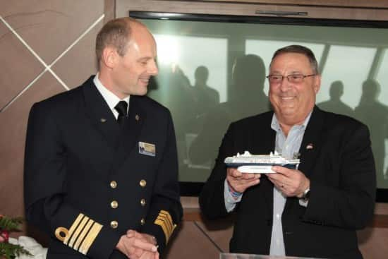 Captain Arno Jutten and  Maine Governor Paul LePage during the governor's visit to ms Maasdam.