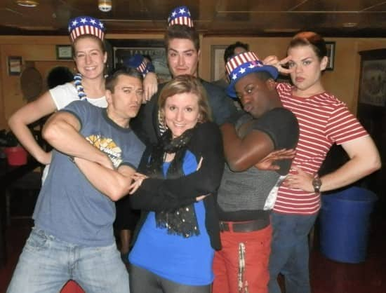 Rotterdam's cast members joined the Officer Pub Quiz in their best Red, White and Blue attire