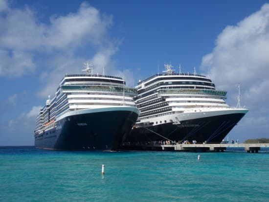 Noordam and Nieuw Amsterdam side by side in Grand Turk.