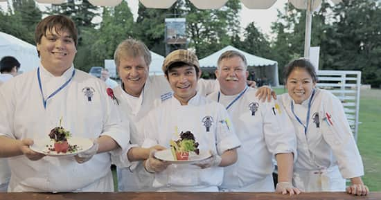 Chef Rudi, second from left, at the AOWW gala.