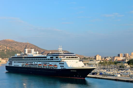 Amsterdam at the port of Cartagena, Spain. Courtesy of Hotel Director Marco van Belleghem.