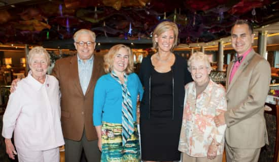 Pictured from left: Jane Abbott Lighty; Gerald Bernhoft, director of Mariner Society for Holland America Line; Colleen Dodson, development director for the Choruses; Pamela Baade, manager of corporate giving for Holland America Line; Pete-e Peterson, and Frank Stilwagner, executive director of the Choruses. Jane and Pete-e were the first same-sex couple to receive a marriage license in Washington State.